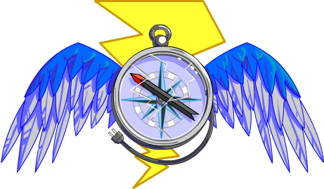 Logo of a compass with wings and a lightning bolt.